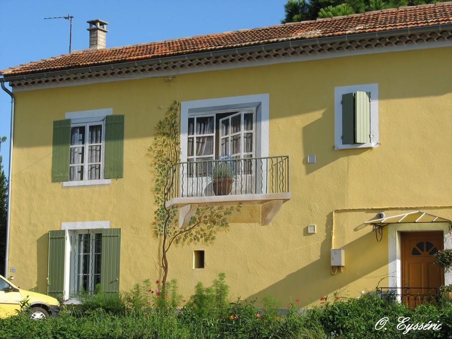 Trompe oeil et peintures sur murs page 9 for Balcon facade maison